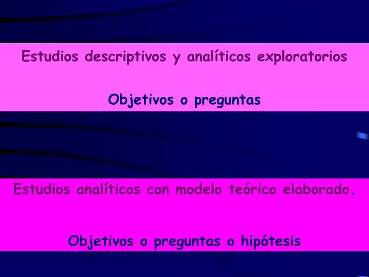 Estudios descriptivos y analíticos exploratorios
