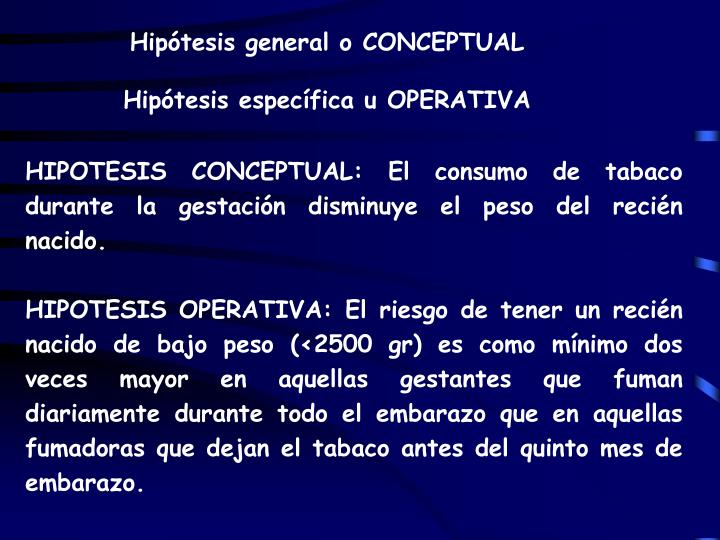 Hipótesis general o CONCEPTUAL