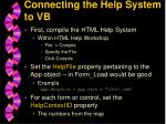 connecting the help system to vb