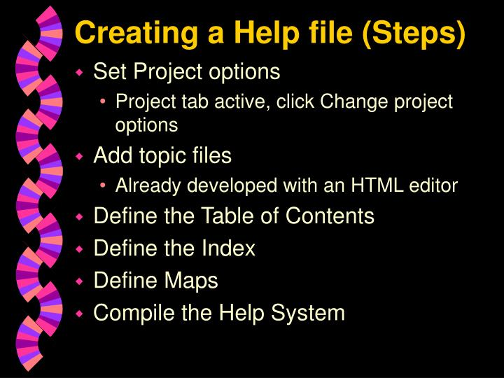 Creating a Help file (Steps)
