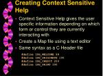 creating context sensitive help