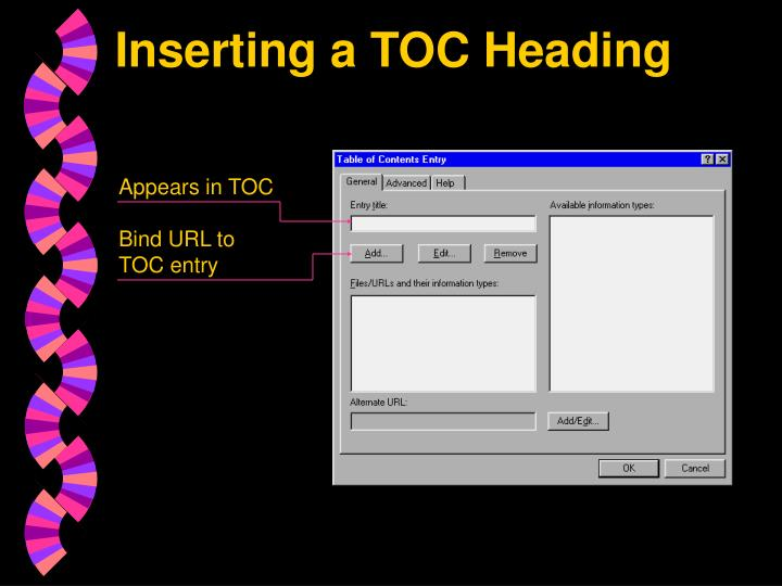 Inserting a TOC Heading