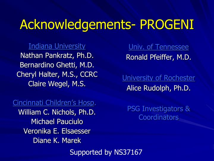 Acknowledgements- PROGENI