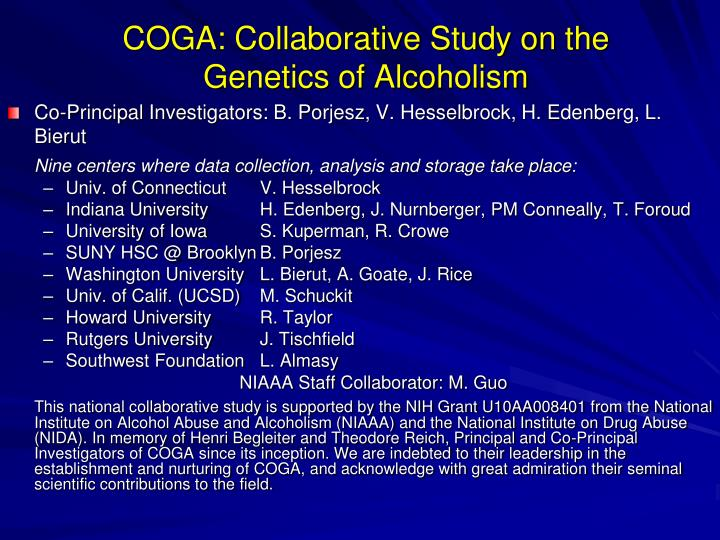COGA: Collaborative Study on the Genetics of Alcoholism