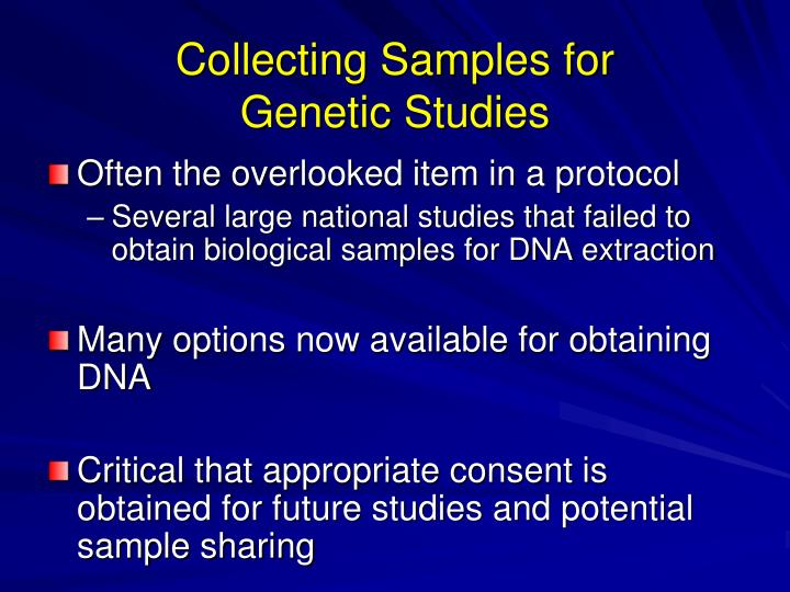 Collecting samples for genetic studies