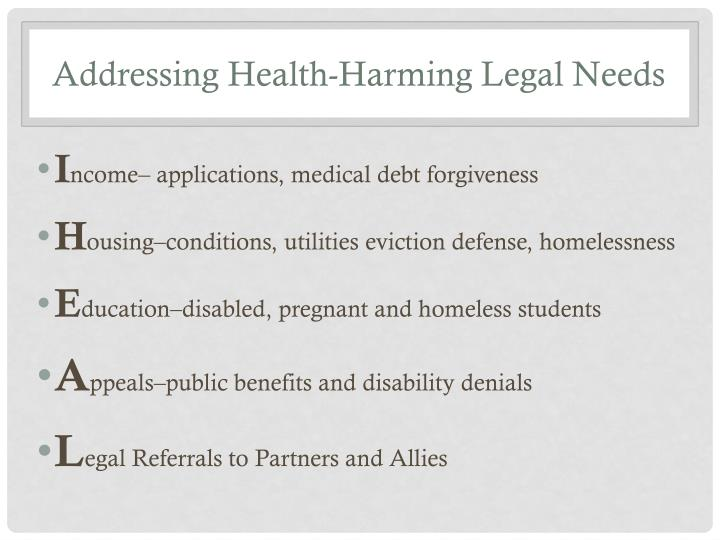 Addressing Health-Harming Legal Needs
