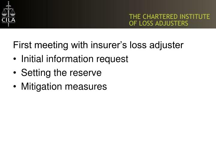 First meeting with insurer's loss adjuster