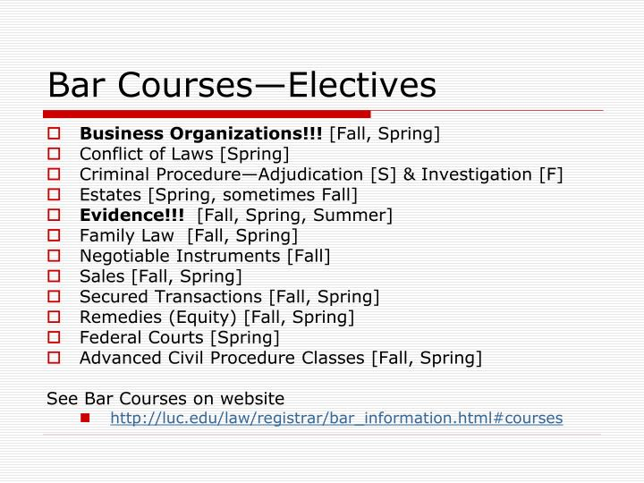 Bar Courses—Electives