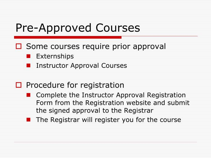 Pre-Approved Courses