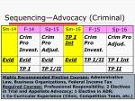 sequencing advocacy criminal