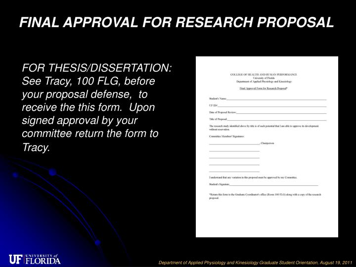 FINAL APPROVAL FOR RESEARCH PROPOSAL