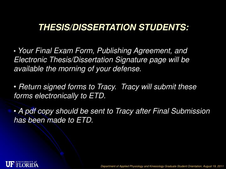 THESIS/DISSERTATION STUDENTS: