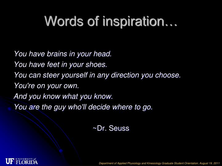 Words of inspiration…