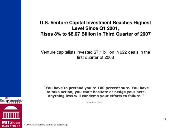 U.S. Venture Capital Investment Reaches Highest Level Since Q1 2001,
