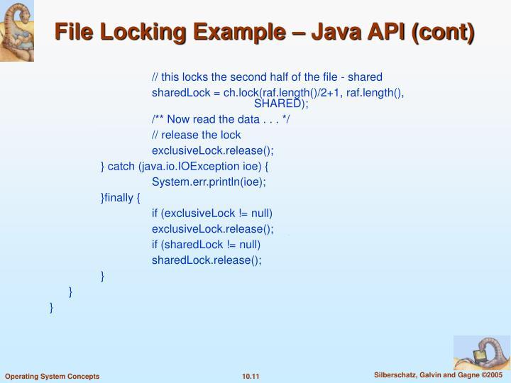 File Locking Example – Java API (cont)