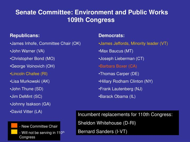 Senate Committee: Environment and Public Works