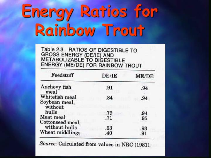 Energy Ratios for Rainbow Trout