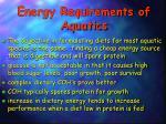 energy requirements of aquatics