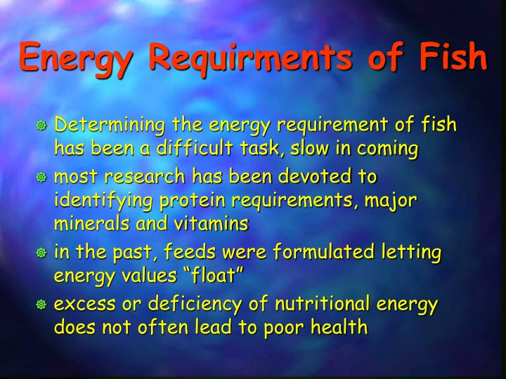 Energy Requirments of Fish