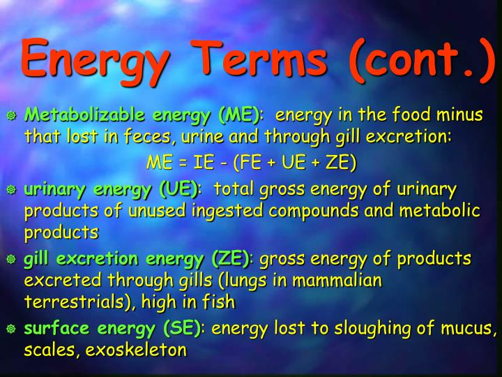 Energy Terms (cont.)