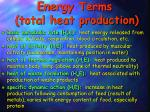 energy terms total heat production