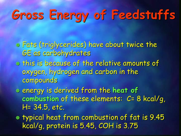 Gross Energy of Feedstuffs