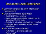 document local experience