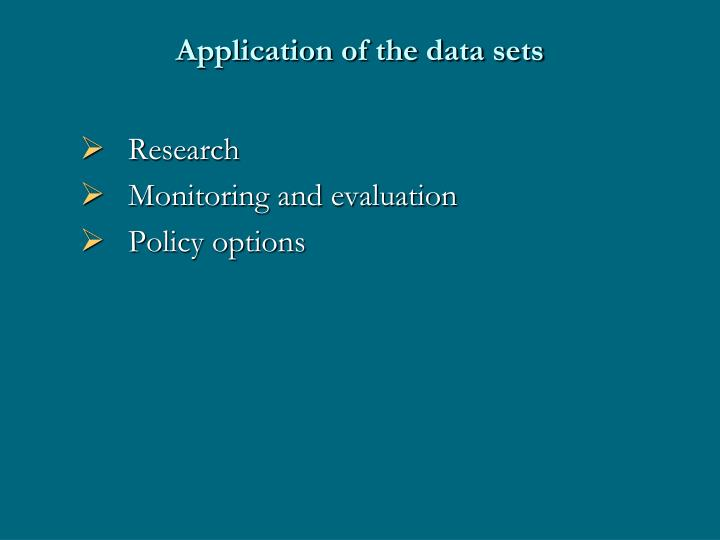 Application of the data sets