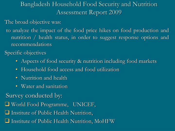 Bangladesh Household Food Security and Nutrition