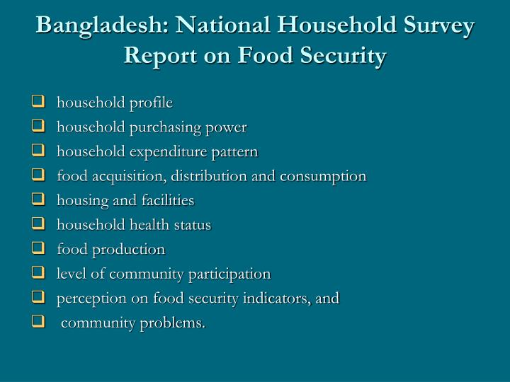 Bangladesh: National Household Survey Report on Food Security