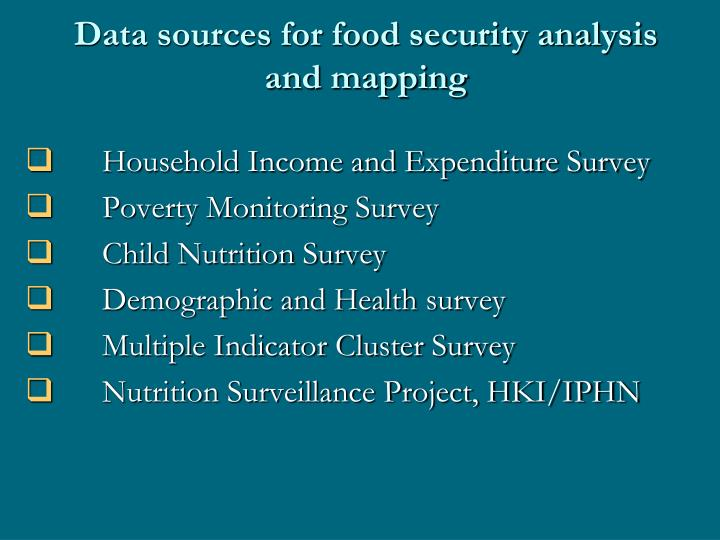 Data sources for food security analysis and mapping