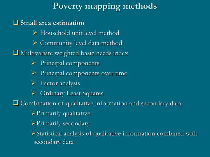 Poverty mapping methods