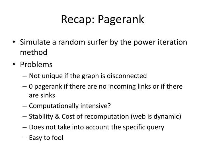Recap: Pagerank