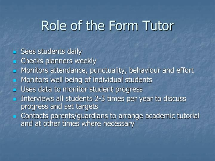 Role of the Form Tutor