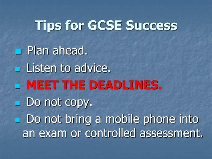 Tips for GCSE Success