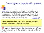 convergence in potential games