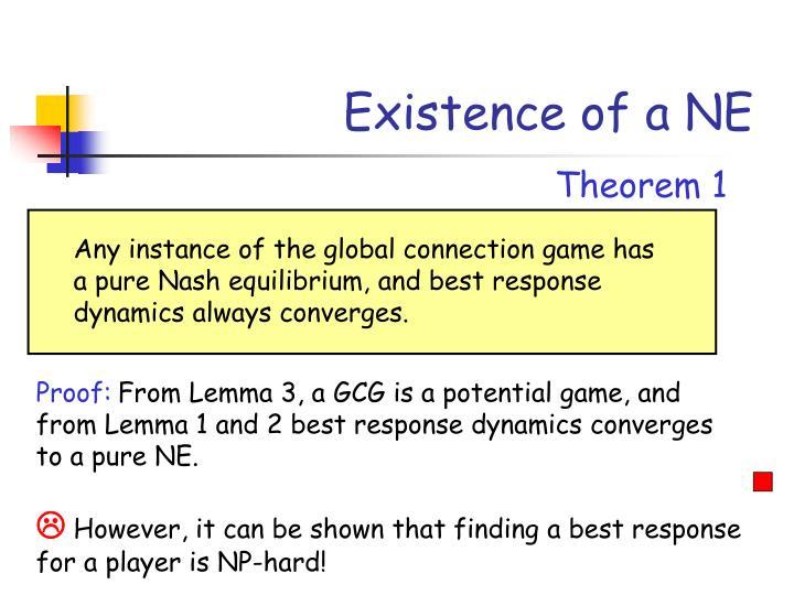 Existence of a NE
