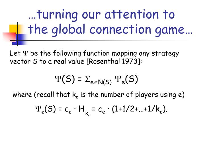 …turning our attention to the global connection game…