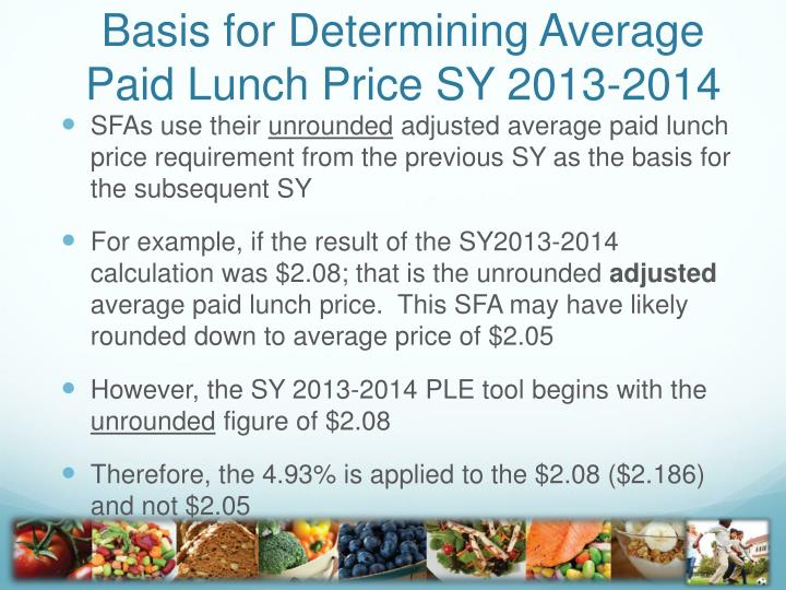 Basis for Determining Average Paid Lunch Price SY 2013-2014