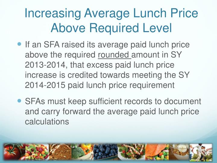 Increasing Average Lunch Price Above Required Level