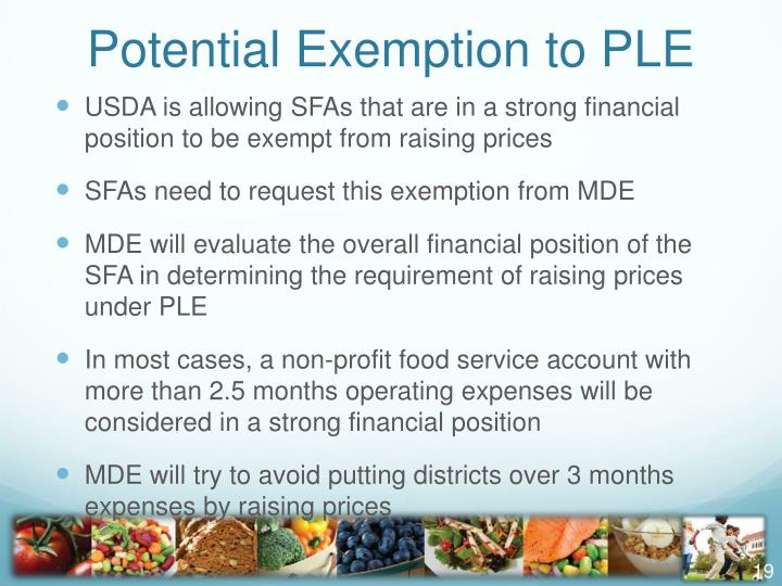 Potential Exemption to PLE