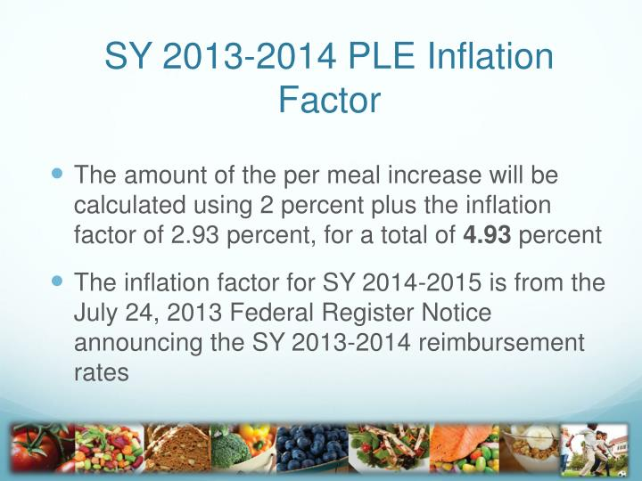 SY 2013-2014 PLE Inflation Factor
