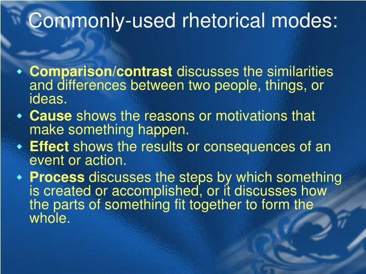 Commonly-used rhetorical modes: