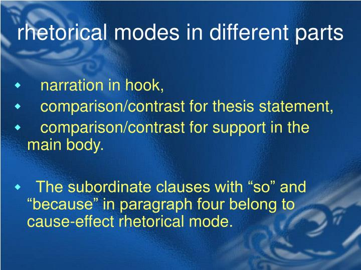 rhetorical modes in different parts