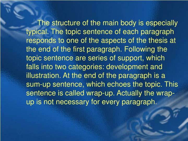 The structure of the main body is especially typical. The topic sentence of each paragraph responds to one of the aspects of the thesis at the end of the first paragraph. Following the topic sentence are series of support, which falls into two categories: development and illustration. At the end of the paragraph is a sum-up sentence, which echoes the topic. This sentence is called wrap-up. Actually the wrap-up is not necessary for every paragraph.