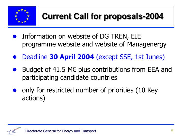 Current Call for proposals-2004