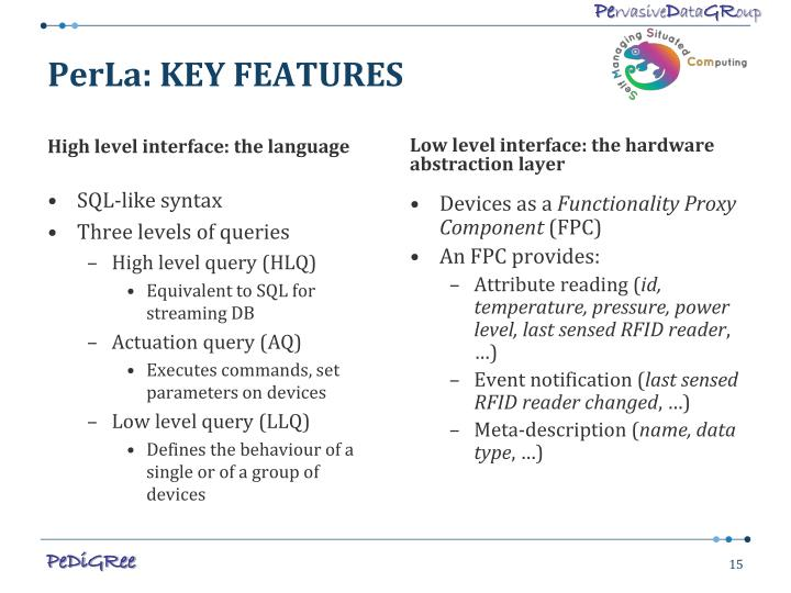 PerLa: KEY FEATURES