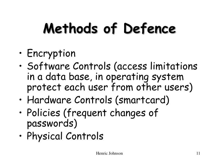 Methods of Defence