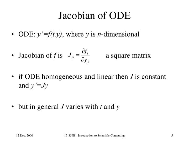 Jacobian of ODE