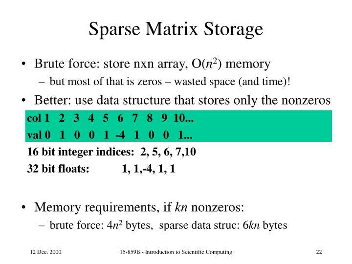 Sparse Matrix Storage